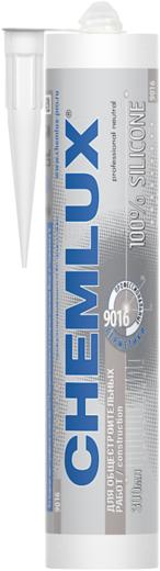 Chemlux 9016 для Общестроительных Работ профессиональный герметик нейтральный силиконовый (300 мл) бесцветный