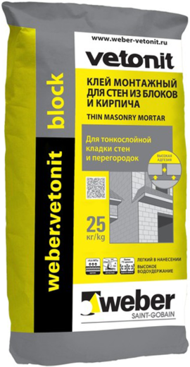 Вебер Ветонит Block клей монтажный для стен из ячеистых блоков и кирпича