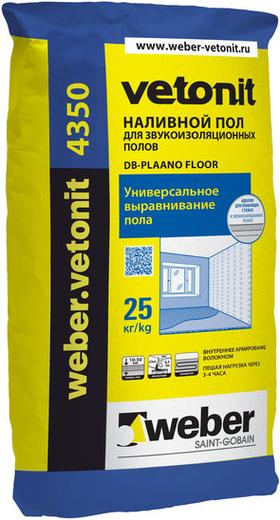 Вебер Ветонит 4350 DB-Plaano Floor наливной пол для звукоизоляционных полов (25 кг)