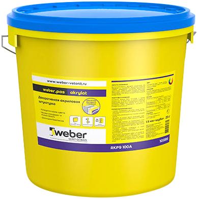 Вебер.Pas Akrylat декоративная акриловая штукатурка (25 кг) белая короед зерно 2 мм