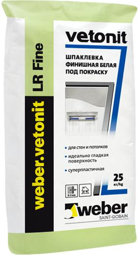 Вебер Ветонит LR Fine шпаклевка финишная белая полимерная под покраску (25 кг)