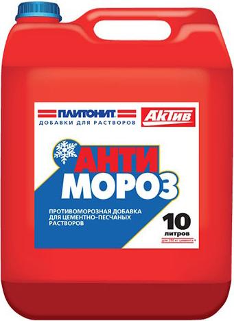 Плитонит Актив Антимороз противоморозная добавка для цементно-песчаных растворов (10 л)