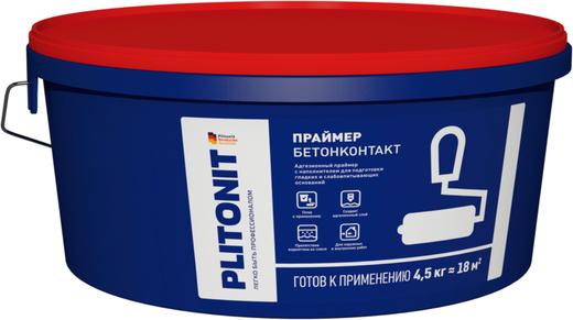 Плитонит Бетон-контакт адгезионный праймер с наполнителем для подготовки гладких и слабовпитывающих оснований