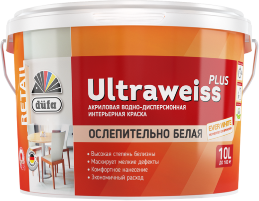 Краска Dufa Retail Ultraweiss plus водно-дисперсионная для внутренних работ 2.5 л белая