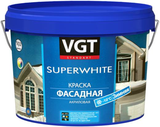 Краска ВГТ ВД-АК-1180 Superwhite фасадная акриловая зимняя 3 кг супербелая