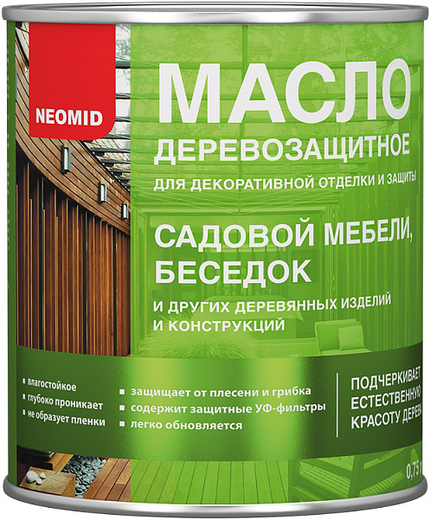 Масло Неомид Деревозащитное для декоративной отделки и защиты садовой мебели, беседок 750 мл тик