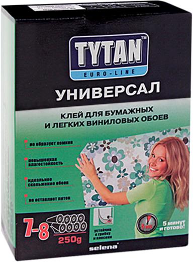 Титан Euro-Line Универсал клей для бумажных и легких виниловых обоев без индикатора (250 г)