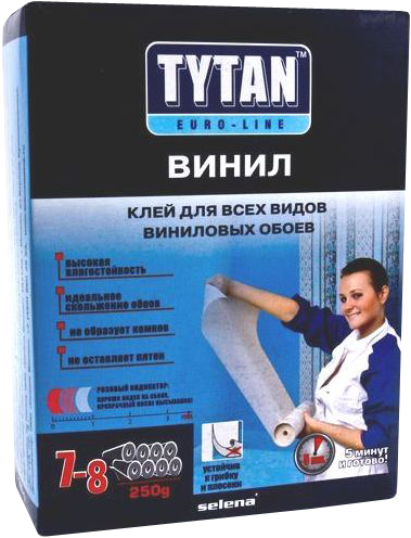 Титан Euro-Line Винил клей для всех видов виниловых обоев с индикатором (250 г)