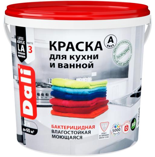 Краска Dali Для кухни и ванной бактерицидная влагостойкая моющаяся 2.5 л бесцветная