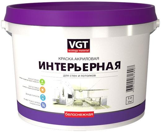 ВГТ ВД-АК-2180 краска акриловая интерьерная для стен влагостойкая (15 кг) белоснежная