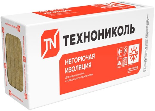 Плита Технониколь Техноруф в 60 негорючая гидрофобизированная тепло- звукоизоляционная 0.6*1.2 м/40 мм