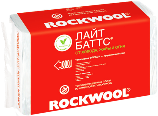 Плита Rockwool Лайт баттс легкая гидрофобизированная теплоизоляционная из каменной ваты 0.6*1 м/130 мм