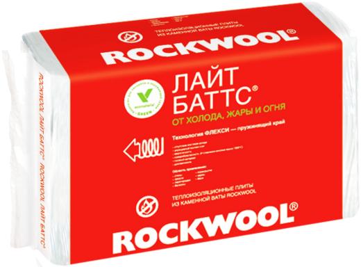 Rockwool Лайт Баттс легкая гидрофобизированная теплоизоляционная плита (0.6*1 м/50 мм) 10 плит
