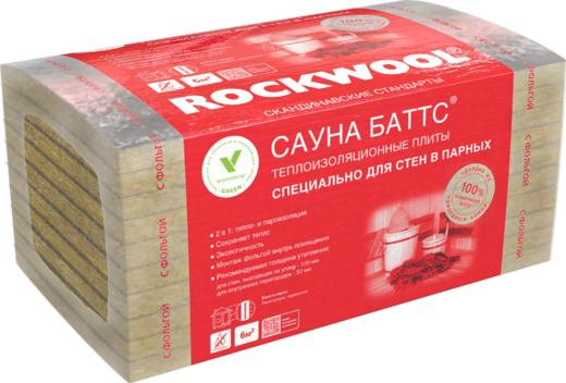 Rockwool Сауна Баттс мягкая теплоизоляционная плита из каменной ваты (0.6*1 м/50 мм)