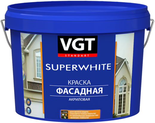 Краска ВГТ ВД-АК-1180 Superwhite фасадная акриловая 6 кг бесцветная
