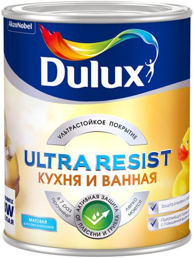 Краска Dulux Ultra resist кухня и ванная для стен и потолков 900 мл бесцветная матовая