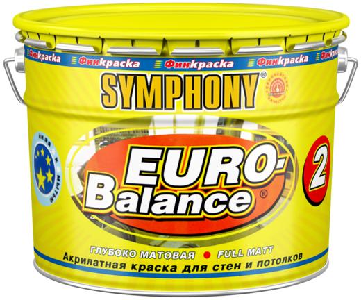 Финкраска Симфония Euro-Balance 2 акрилатная краска для стен и потолков (3 л пластик) ослепительно-белая