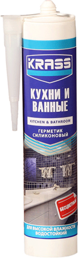 Герметик Krass Кухни и ванные для высокой влажности водостойкий 115 мл белый