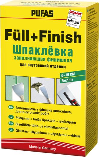 Шпаклевка Пуфас Full+finish spachtel заполняющая финишная для внутренней отделки 2 кг