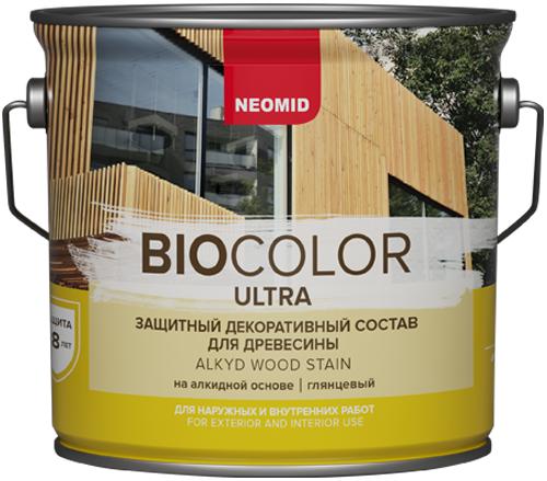 Состав Неомид Bio color ultra защитный декоративный для древесины 9 л палисандр