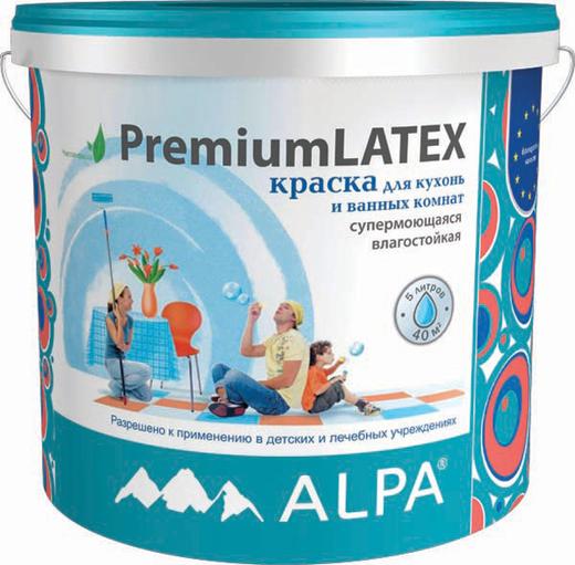 Alpa PremiumLatex краска для кухонь и ванных комнат супермоющаяся влагостойкая (9.06 л) бесцветная