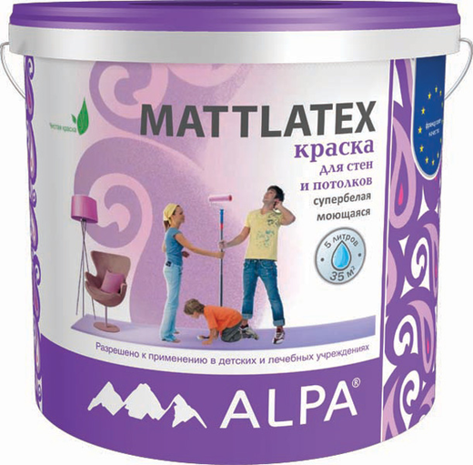 Краска Alpa Mattlatex для стен и потолков 2 л супербелая