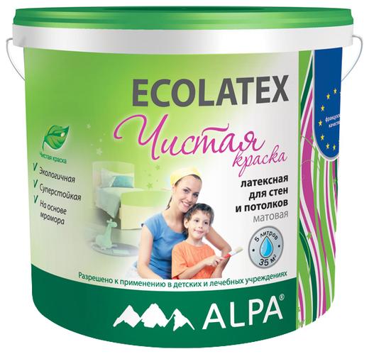 Краска Alpa Ecolatex чистая латексная для стен и потолков 2 л белая