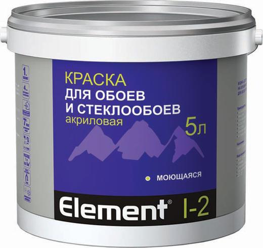 Краска Alpa Element i-2 для обоев и стеклообоев акриловая 2 л белая