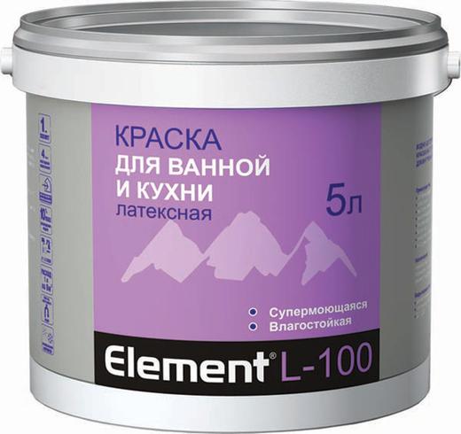 Краска Alpa Element l-100 для ванной и кухни латексная 2 л белая
