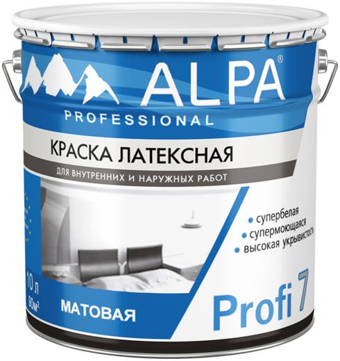 Alpa Profi 7 краска латексная супермоющаяся для внутренних и наружных работ супербелая