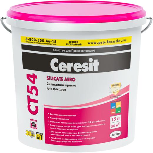 Краска Ceresit Ct 54 силикатная для внутренних и наружных работ 15 л белая