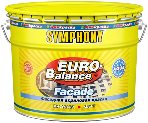 Финкраска Симфония Euro-Balance Facade Aqua фасадная акриловая краска водоразбавляемая щелочестойкая (10 л) бесцветная