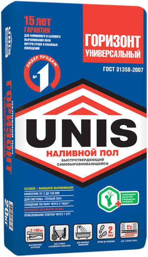 Юнис Горизонт Универсальный наливной пол быстротвердеющий (20 кг)
