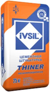 Ивсил Thiner цементная штукатурка мелкофракционная легкая (25 кг)