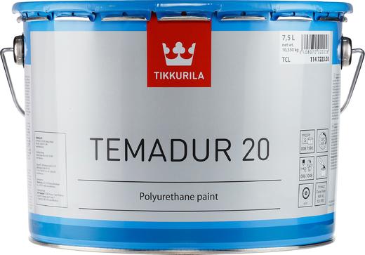 Тиккурила Темадур 20 двухкомпонентная полуматовая полиуретановая краска (10 л база TVL) белая