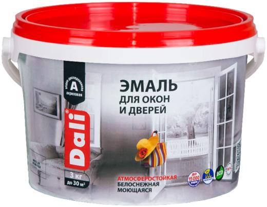 Эмаль Dali Для окон и дверей атмосферостойкая 3 кг белоснежная