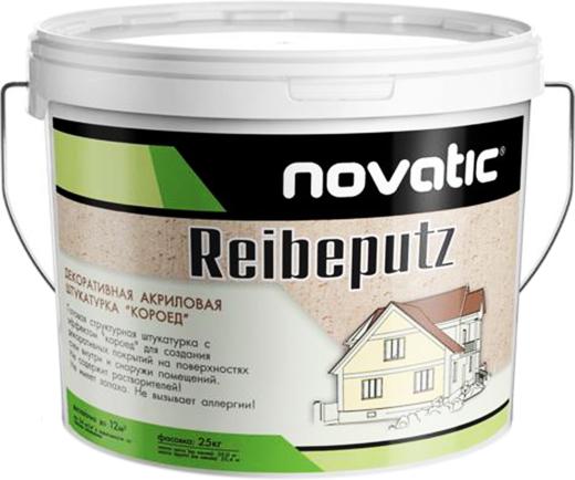 Feidal Novatic Reibeputz декоративная структурная акриловая штукатурка короед (25 кг) зерно 1.5-2 мм морозостойкая