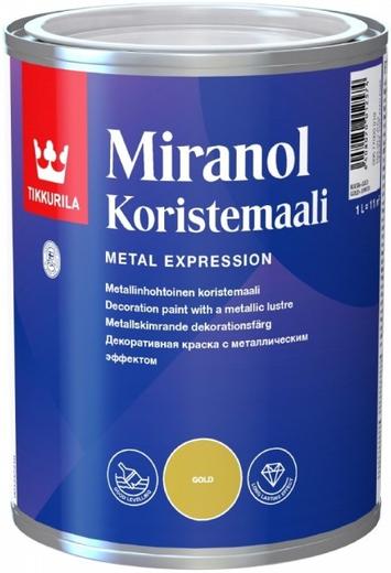 Краска Тиккурила Миранол користемаали декоративная для дерева и металла с металлическим эффектом 100 мл серебристая