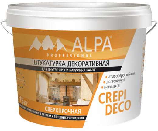 Alpa Crepi Deco штукатурка декоративная сверхпрочная атмосферостойкая (15 кг) шуба зерно 0.5 мм