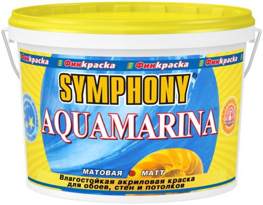 Финкраска Симфония Aquamarina влагостойкая акриловая краска для стен и потолков (10 л) белая