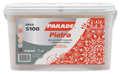 Parade S100 Pietra декоративное покрытие (7 кг) кварц