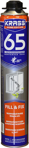 Krass Home Edition 65 монтажная пена с увеличенным выходом (840 мл) пистолетная зимняя