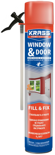 Монтажная пена Krass Для окон и дверей 750 мл пистолетная всесезонная россия