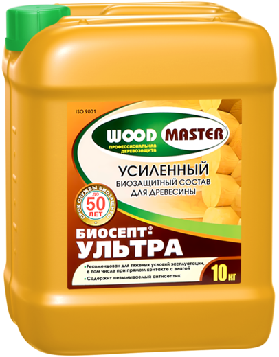 Woodmaster Биосепт-Ультра биозащитный состав для усиленной защиты древесины (10 кг) зеленовато-фисташковый