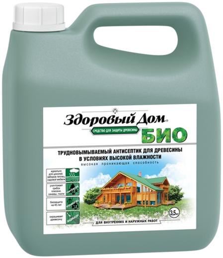 Здоровый Дом Био трудновымываемый антисептик для древесины (1 кг) зеленовато-бурый