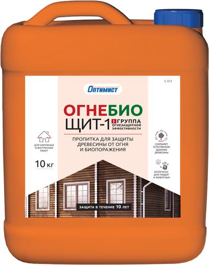 Оптимист C 413 Огнебиощит-1 пропитка для защиты древесины от огня и биопоражения (10 л) бесцветная