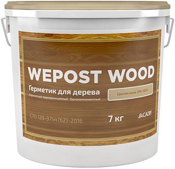 Однокомпонентный акриловый герметик для деревянного домостроения Wepost Wood (19 кг) белый
