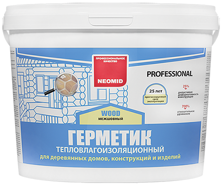 Неомид Теплый Дом Wood Professional герметик тепловлагоизоляционный строительный (3 кг) сосна