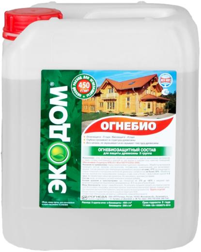 Экодом Огнебио огнебиозащитный пропиточный состав для защиты древесины (10 кг) бесцветный