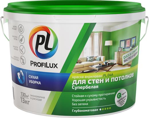 Краска Профилюкс Pl-04a для стен и потолков 13 кг белая